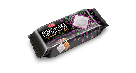 Marguerite with black currant flavour in milk coating